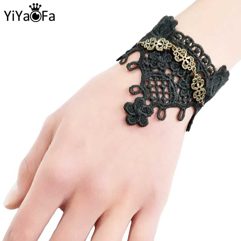 YiYaoFa Handmade Gift Vintage Black Lace Bracelet for Women Accessories Gothic Jewelry Charm Bracelet Wedding Jewelry  LB-71