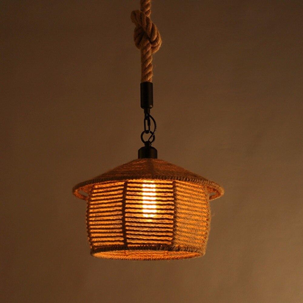 ФОТО Lamp Light Rural Character Simple Nordic Restaurant Cafe Pendant Lamp Art Retro Rope Pendant Light for Living Dining Room