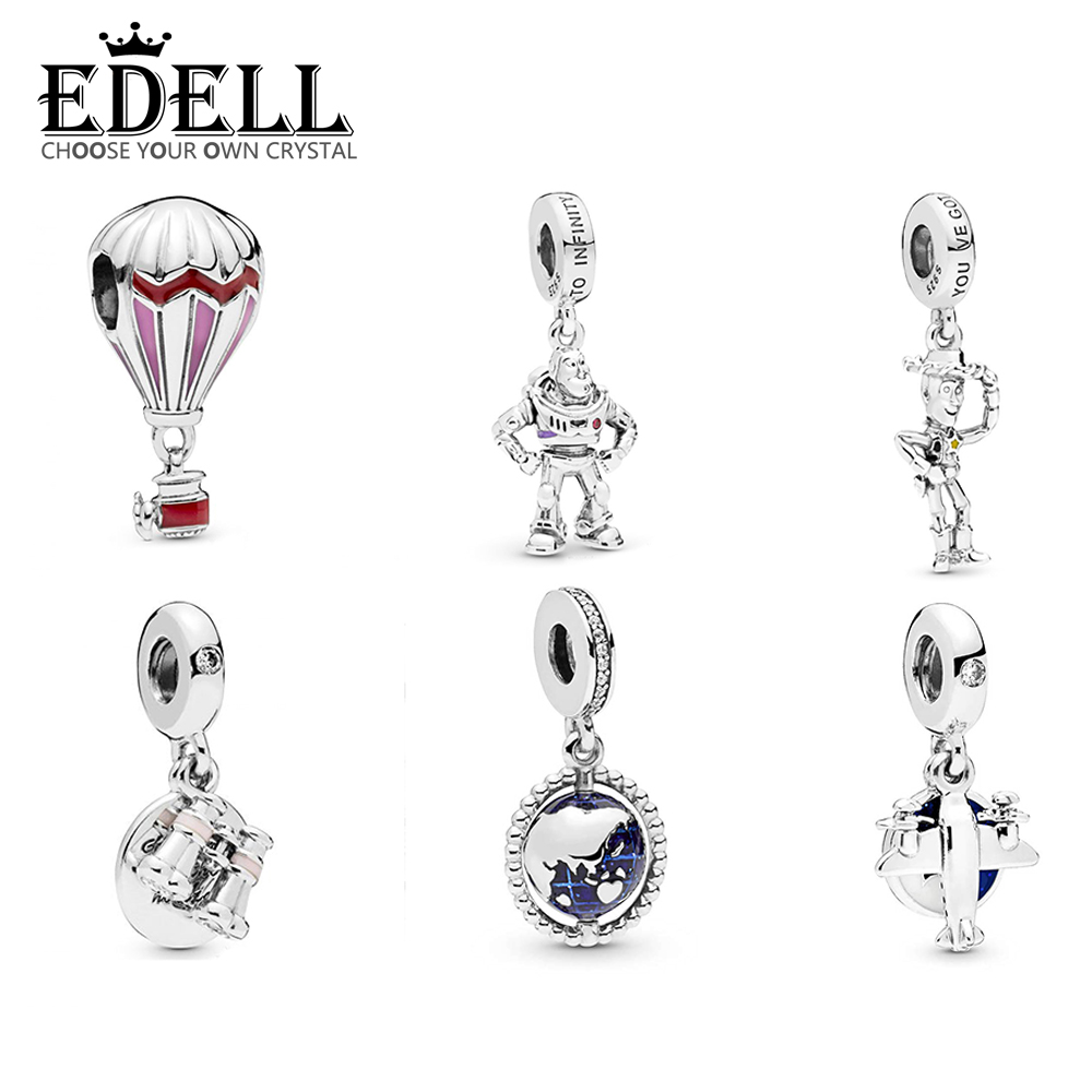 EDELL 100% 925 Sterling Silver Globe Dangle Charm Propeller Plane Summer Heart Binoculars Pendant Red Hot Air Balloon CharmEDELL 100% 925 Sterling Silver Globe Dangle Charm Propeller Plane Summer Heart Binoculars Pendant Red Hot Air Balloon Charm