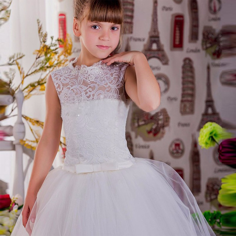 2017 New Flower Girl Dresses Sleeveless Appliques Ball Gown Lace Up O-Neck Formal Communion Gowns Vestidos Longo Custom Made white ivory butterfly lace flower girl dress bow sash sleeveless a line vestidos longo custom made first communion gown 2017