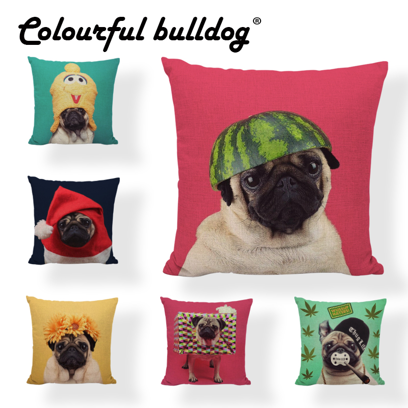 Lovely Cushion Cover 45*45cm Pug Pineapple Banana Watermelon Bark Flower Christmas Hat Scarf 1 Print Child Room Decor Pillowcase
