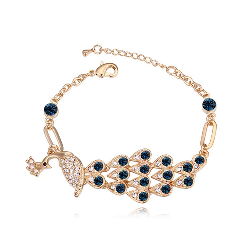 Fashion Pea Shape Design Jewelery For Women Champagne Gold Color Italian Charm Bracelet Brands Made With Austria Crystal In Chain Link Bracelets From