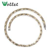 Wollet Ювелирные Изделия Золото Цвет Энергии Здоровья Корейский 5 мм Titanium Отрицательный Ион Инфракрасный Германий Ожерелье Для Мужчин Женщин
