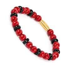 BOFEE String Natural Stone Beads Bracelet Charm Grain Red Stretch Hand Chain Rope Summer Fashion Jewelry Gift For Women Men