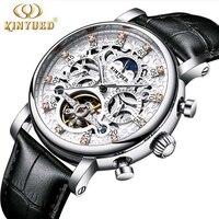 KINYUED Skeleton Automatic Watch Men Sun Moon Phase Waterproof Tourbillon Mechanical Mens Watches Top Brand Luxury