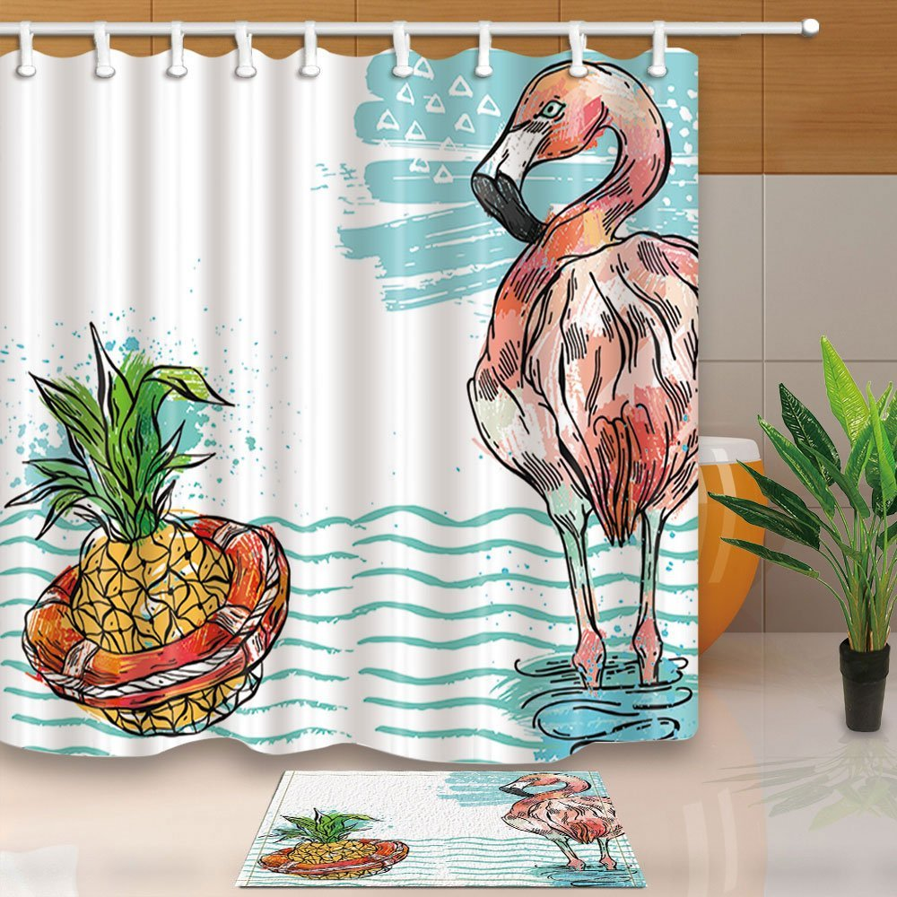 Tropical Seaside Decor, Pineapple and Flamingo in Sea Waves Mildew Resistant Polyester Fabric Shower Curtain Suit