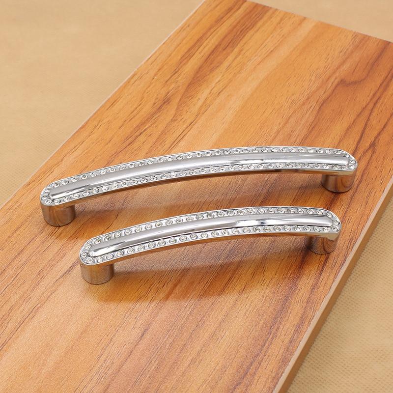 Diamond crystal zinc alloy handle furniture cabinet drawer handle modern minimalist silver pulls