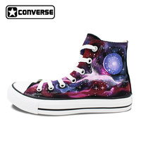 Woman Man Shoes Purple Pink Converse All Star Planet Galaxy Original Design Hand Painted Shoes Boys Girls Skateboarding Shoes
