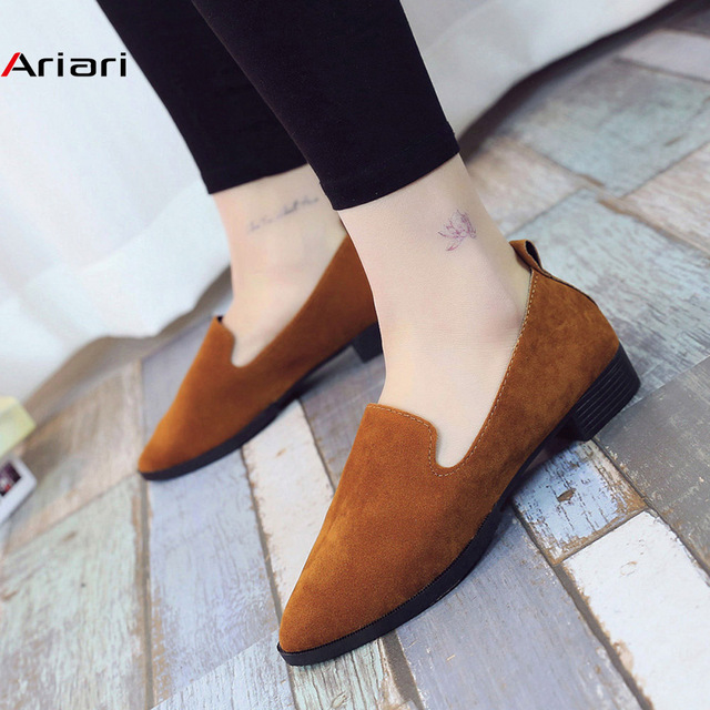 2019 Spring Women Loafers Flats Shoe Women Casual Shoes Suede Slip on Boat shoes Female Shoe Comfortable Ballet Flats Size 35-40 1