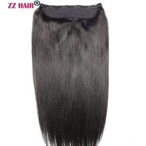 """ZZHAIR 80g 100g 16"""" 18"""" 20""""Machine Made Remy Hair One Piece Set 5 Clips in 100% Human Hair Extensions 1pcs Hair Natural Straight"""