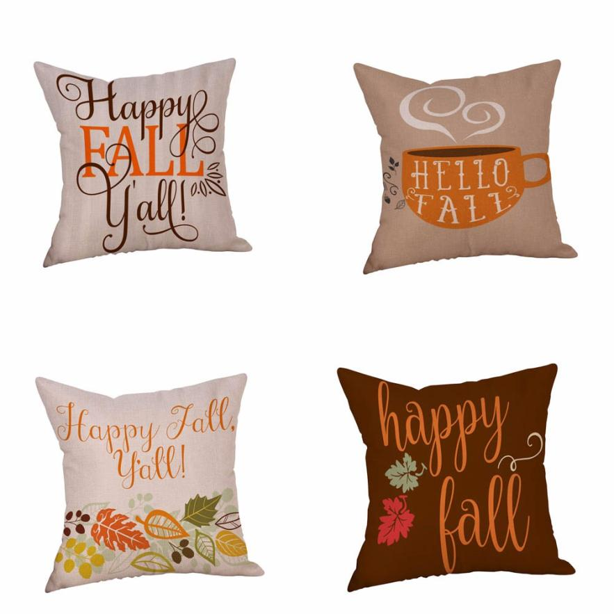 Happy Halloween 45cm*45cm Pillow Cases Happy Fall Yall Linen Sofa Cushion Cover Home Decor 2O95