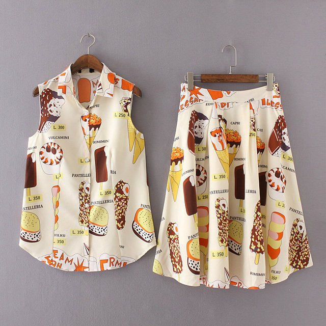 High quality stretchy chiffon 2 piece set women crop top and skirt cropped new fashion ice cream printed summer vest skirts sets