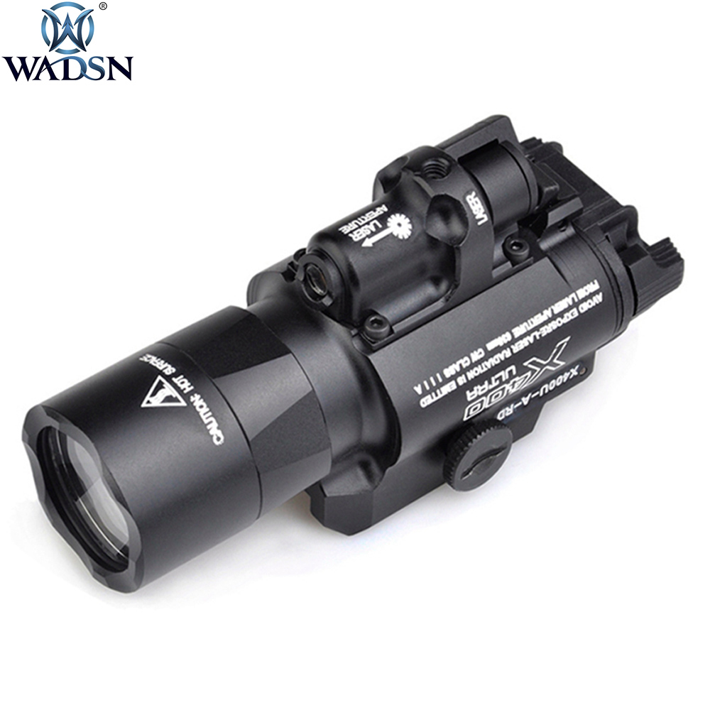 WADSN Surefir X400U Ultra Light Red Laser LED Tactical Flashlight X400U Hunting Weapon Flashlight 20mm Picatinny Weaver Rail