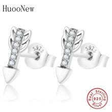 Clear Crystal CZ Cupid Arrow Stud Earrings 2019 Jewelry Brincos 925 Sterling Silver Earring For Women Love Gift Aretes Berloque