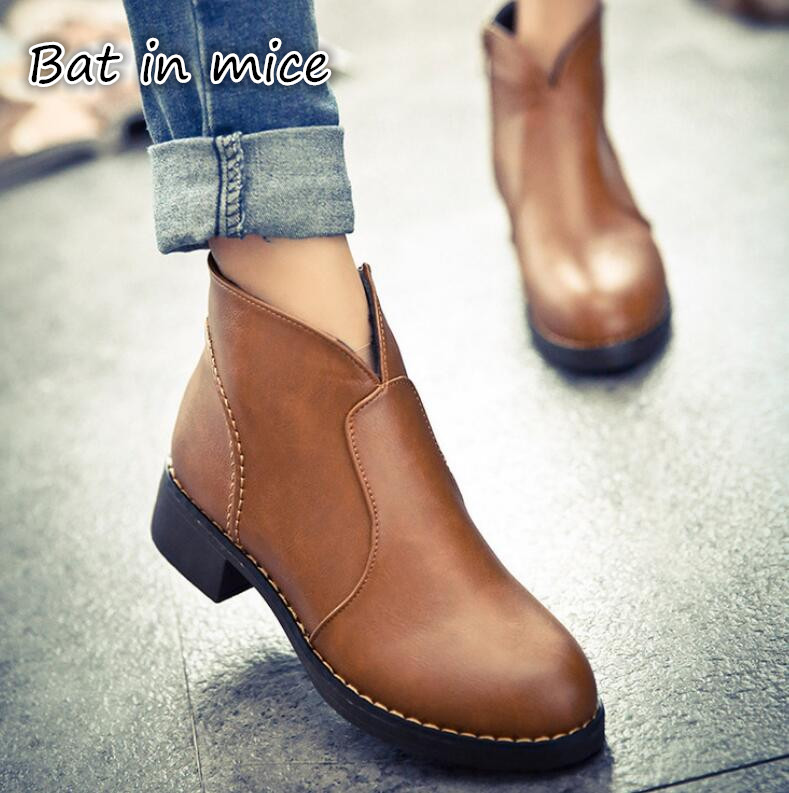 B.I.M. 2017 winter Fashion boots thick bottom PU leather waterproof woman Martin boots casual women shoes plus size 35-40 F015 short boots woman the fall of 2017 a new restoring ancient ways british wind thick boots bottom students with martin boots