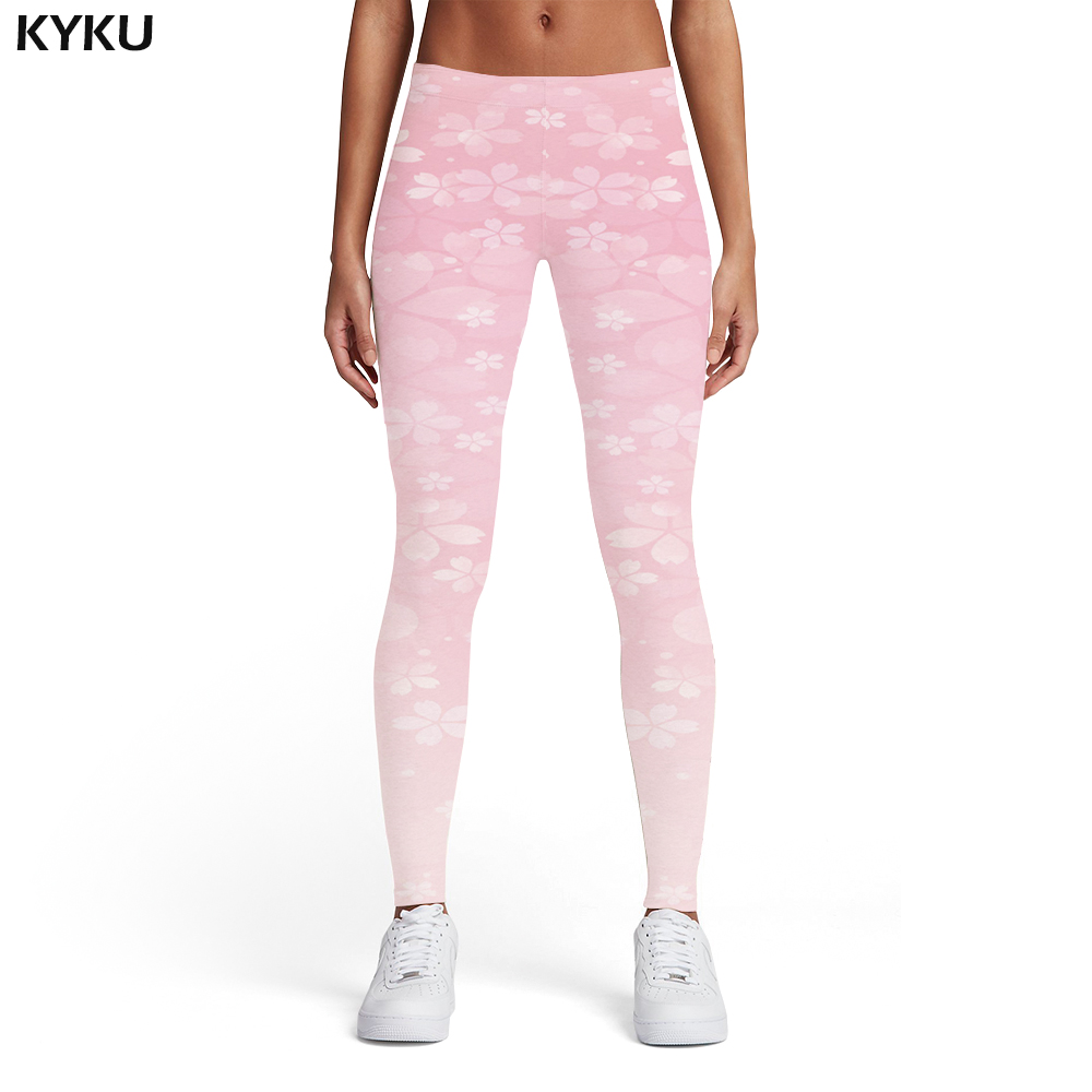 KYKU Flower   Leggings   Women Pink Sexy Fantasy Printed pants Gothic Trousers Leggins Womens   Leggings   Pants Fitness Jeggins Skinny