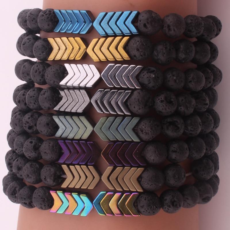 8mm Black Lava Volcanic Natural Stone Bracelet Bangle Healing Balance Yoga magnet arrow Bracelets For Men Women fashion Jewelry