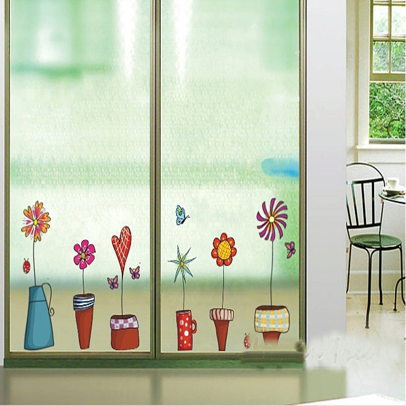 Cartoon Flower Butterfly wall Stickers DIY Decal on the ...