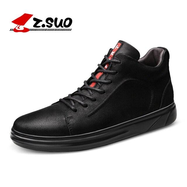 Z. SUO/зимняя мужская кожаная обувь с вулканизированной подошвой большие размеры 37-47, меховая теплая обувь на плоской подошве, Мужская молодеж...