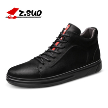 Z.SUO Winter Men Leather Ankle Vulcanize Shoes Big Size 37-47 Add Fur Warm Flats Male Youth Fashion Lace up Rubber Footwear