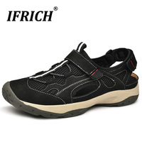 Mens Cow Leather Hiking Mesh Sandals Outdoor Summer Trekking Mountain Climbing Shoes Waterproof Athletic Sport Beach Plus Size