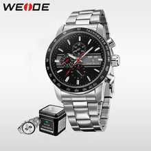 WEIDE Brand Men Full Steel Watch Japan Miyota  Analog Display Waterproof Sports Watches Luxury