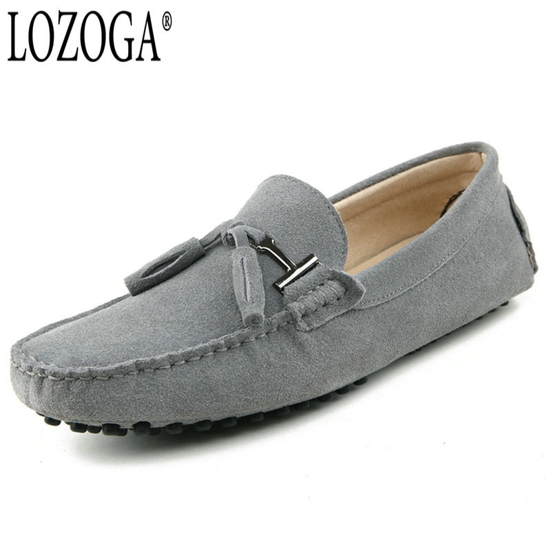 LOZOGA Classic Men Casual Shoes Summer Loafers Suede Leather Fashion Tassel Shoes Slip On Handmade Brand Driving Shoes Moccasins
