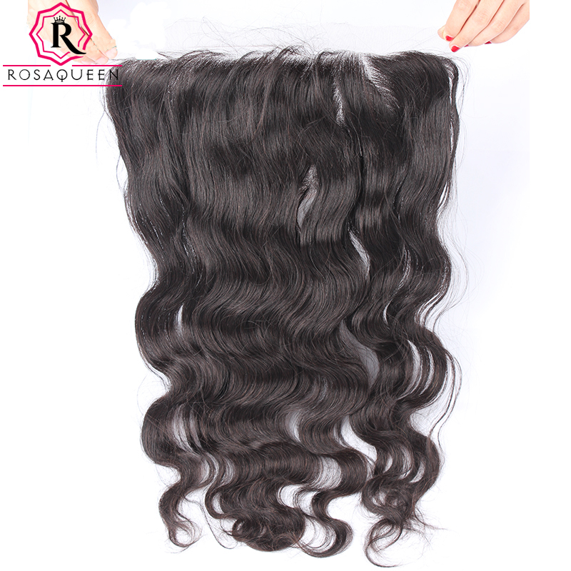 13x6 Body Wave Lace Frontal Closure Brazilian Human Hair Closure Pre Plucked With Baby Hair Remy Hair Natural Black Rosa Queen