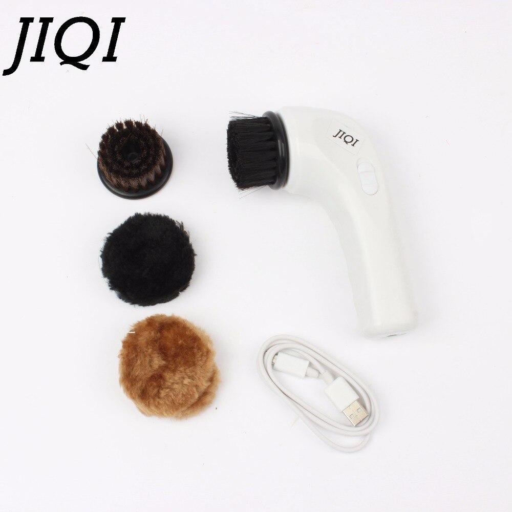 цена  JIQI Electric Shoe Brush USB Rechargeable hand Shoes Polishing Equipment mini Charging Shoe Polisher shoe sole cleaning machine  онлайн в 2017 году