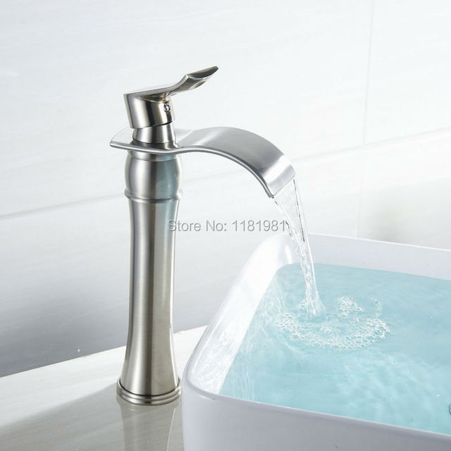 12u0027u0027 High Modern Deck Mount Waterfall Bathroom Faucet Vanity Vessel Sinks  Mixer Cold And