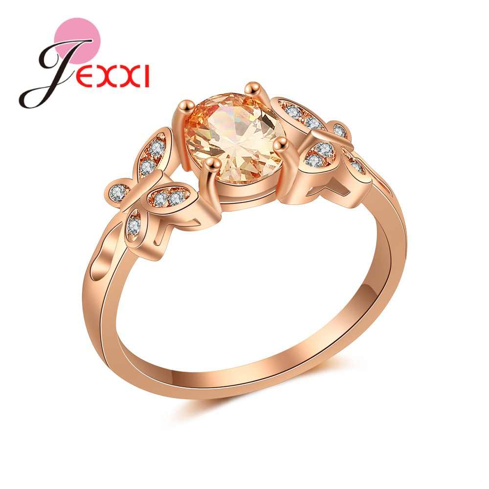 Luxury Charming Rose Gold Color Ring Big Promotion Popular Party Anniversary Finger Accessories Clear Crystal Popular
