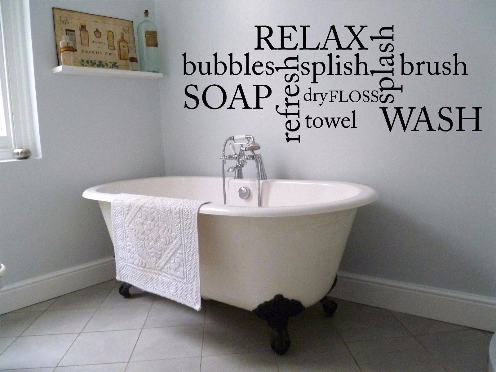 Bubbles Soap Relax Wash Bathroom Wall Decal Cute Funny Room Bath Vinyl Sticker ...