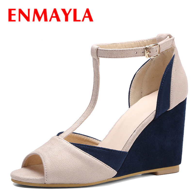 ENMAYLA Summer Wedges Flock Sandals Women High Heels Mixed Colors Shoes Woman T-Strap Peep Toe Ladies Sandals Blue Red  enmayla flowers wedges heels platform sandals women open toe high heels shoes woman solid color ladies sandals female shoes