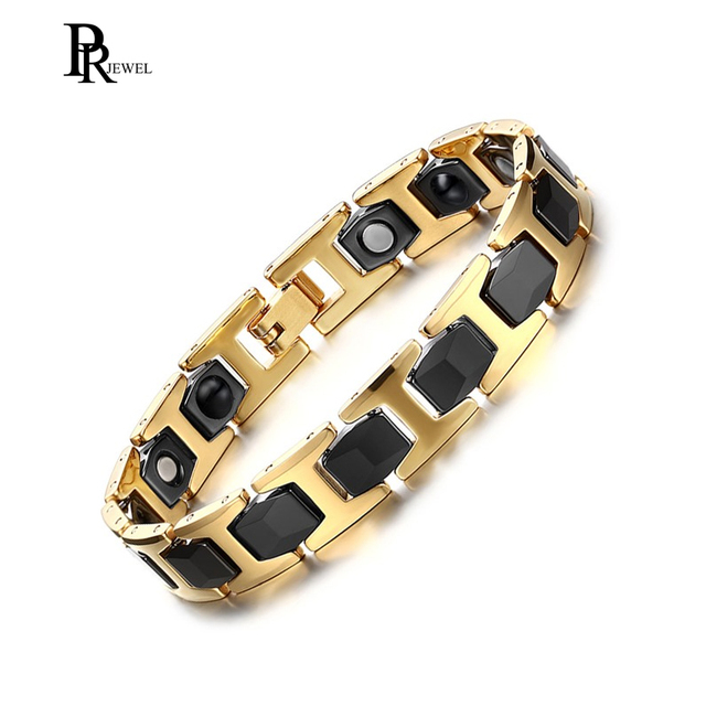 Stainless Steel Ceramic Magnetic Bracelet Magnets Germanium Gold Black Arthritis Pain Relief With Free Gift Box