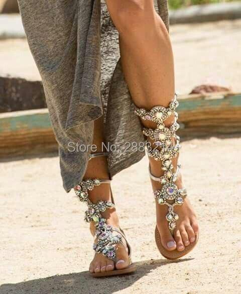 سعر المصنع حجر الراين اليدوية سيدة أحذية الصيف المصارع الركبة عالية مصممة الكريستال الشقق صندل الأحذية الأحذية المفتوحة تو أحذية-في بوت للركبة من أحذية على  مجموعة 1