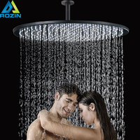 Ceiling Mounted Bathroom 16 inch Showerhead Black Round Bath Shower Faucet Head with Shower Arm Bathroom Accessory