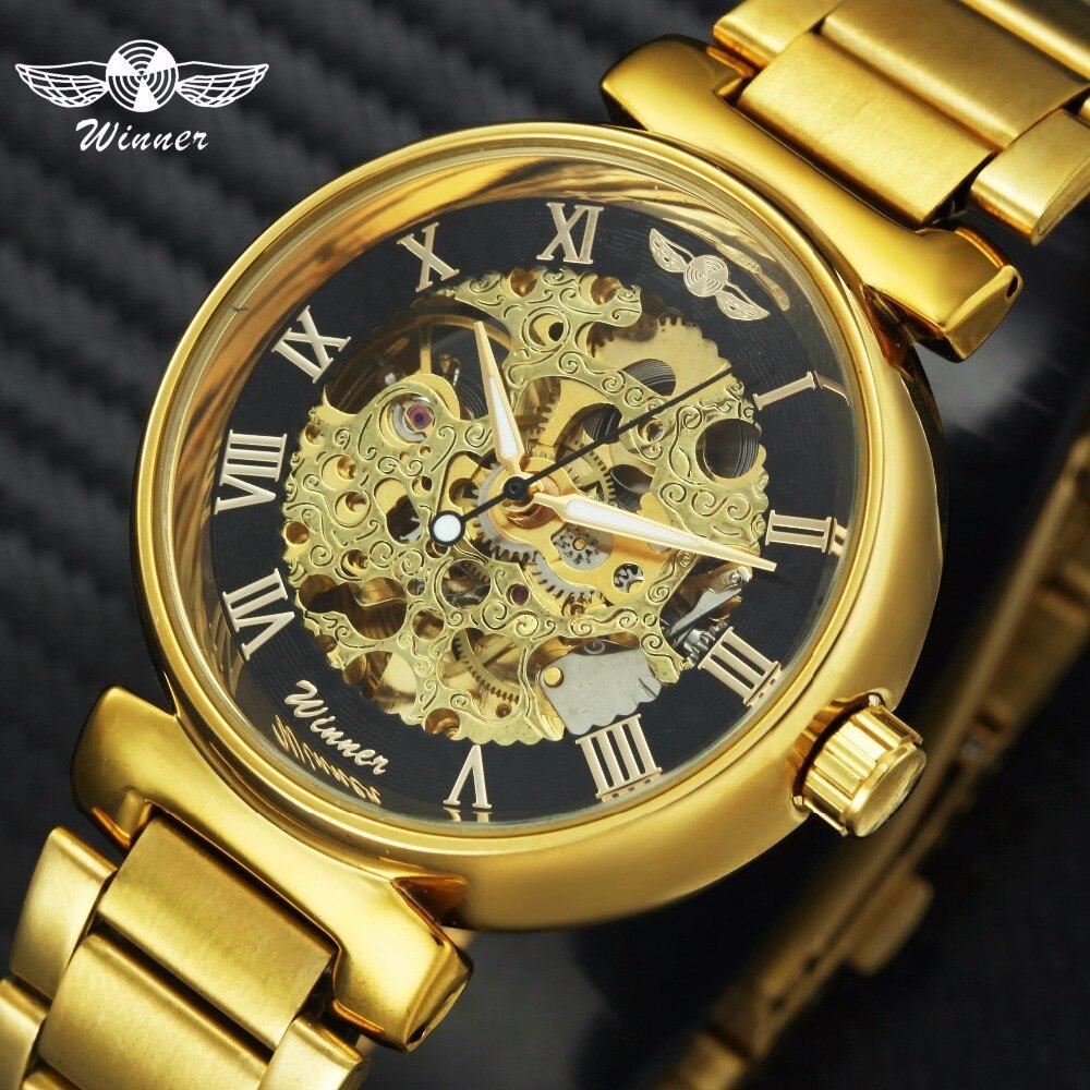 WINNER Top Brand Luxury Golden Skeleton Auto Mechanical Watch Men Lover Women Unisex Retro font b