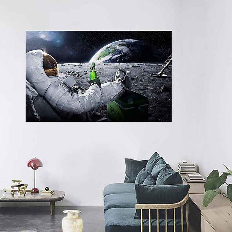 Astronaut on the Moon Relaxing with Beer Vintage Fantasy Kraft Paper Poster Home Office Decor Wall Sticker Paster