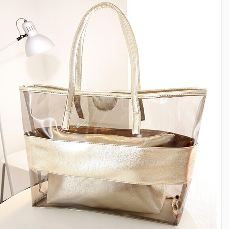 Outdoor Waterproof PVC Beach Pool Shoulder Bag Bath Wash Bags Transparent Swimming Suitcase Storage Handbag Bag Beach