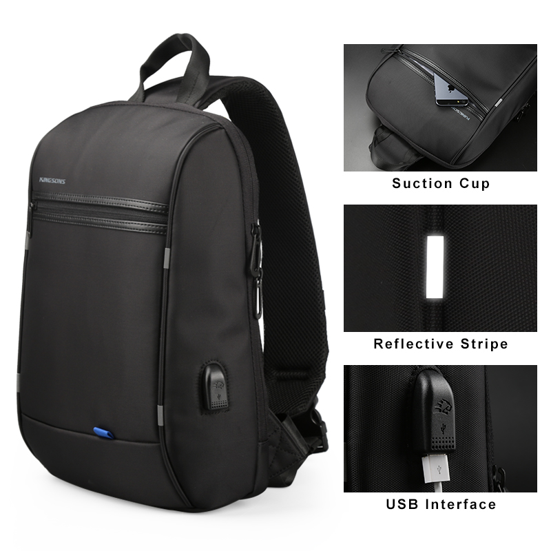 Kingsons 13.3 inch Anti-theft USB Charging Messenger Chest Bag Wateproof Single