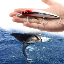 RUNATURE Flash Minnow Fishing Lure Bait Artificial Lure With 3 French VMC Hooks 110mm 37g Fishing