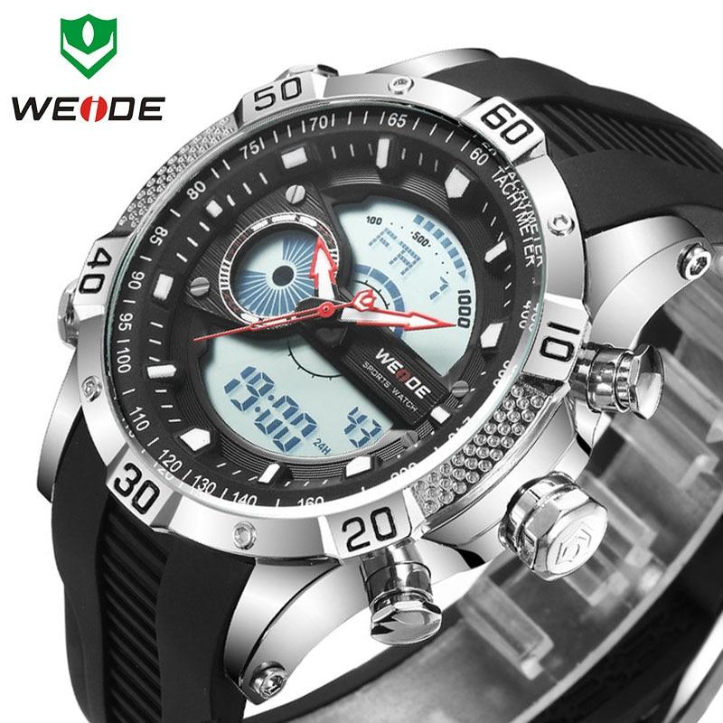 Top Marque De Luxe WEIDE Sport erkek saat Silicone Homme Numérique Japon Mouvement Horloge Poignet Quartz Montre Horloge relogios masculino