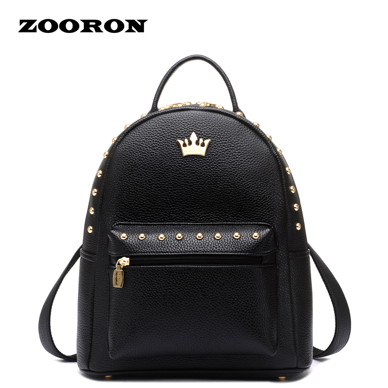 ФОТО ZOORON Rivets Korean Version of Leisure Leather Female Bag 2017 new College Wind Backpack Girls Travel Backpack
