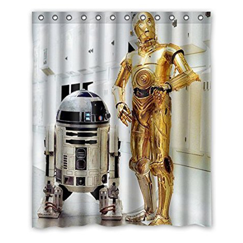 R2D2 Star Wars Robot Shower Curtain Waterproof Fabric Curtain Movie Poster Polyester Bathroom Curtain Set For Home Decor image