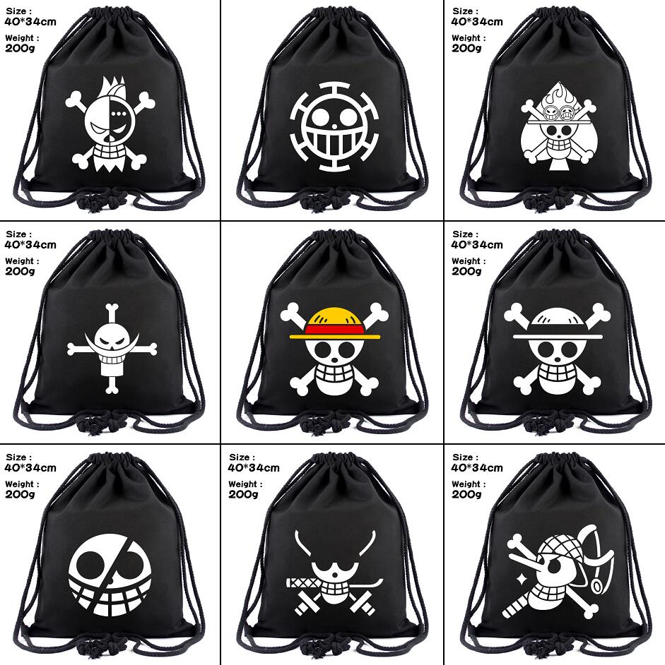 One Piece Luffy Law Canvas Drawstring Bags Anime Chopper Backpack Women Fashion Cosmetic Container Casual Beach Bag Shoes Pouch