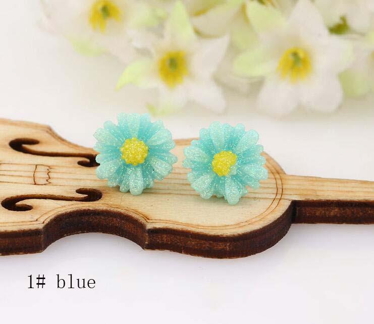 Stud Earrings ear rings Fashion for women Girls lady colorful daisy yellow blue shiny