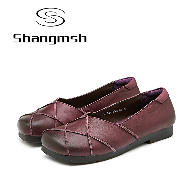 Shangmsh Slip On Shoes For Women 2017 Autumn Genuine Leather Ladies Shoes Square Toe Soft Cow Muscle Driving Loafers Brand Flats shangmsh shoes for women 2017 new autumn
