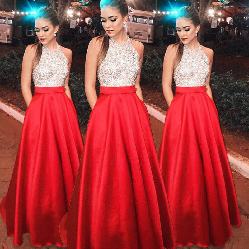 Maxi Skirts  Women Sexy Sequin Red Sleeveless High Waist Skirts Patchwork  Long Evening Formal Party Ball Prom Gown Skirts Hot