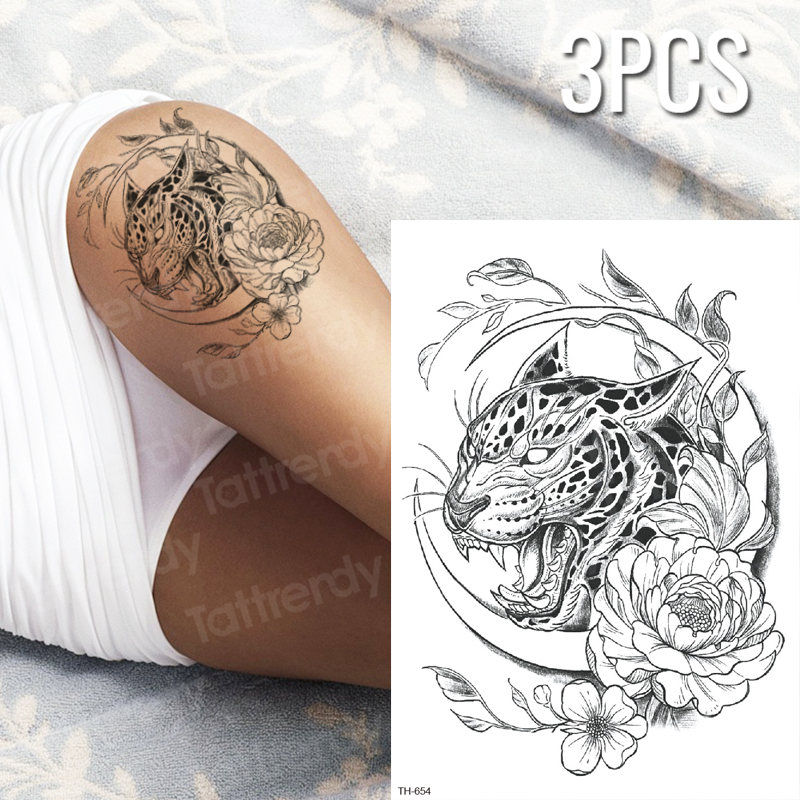 3pcs Lot Temporary Tiger Tattoo Black Panther Tattoo Sketches Tattoo Designs Sexy Tatoo For Woman Thigh Tattoos Body Stickers Aliexpress