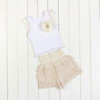 Summer Style Hot Sale Spring Autumn Baby Clothing Suits Baby Girl Petti Tutu Top Shorts Sets